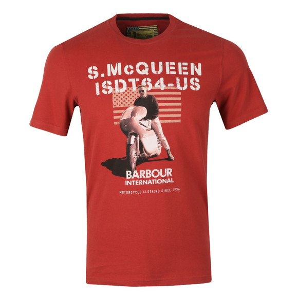 Barbour Int. Steve McQueen Mens Red S/S Military Flag Tee main image