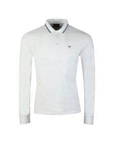 Emporio Armani Mens White 8N1F36 Tipped Long Sleeve Polo