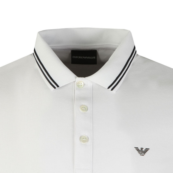 Emporio Armani Mens White 8N1F36 Tipped Long Sleeve Polo main image