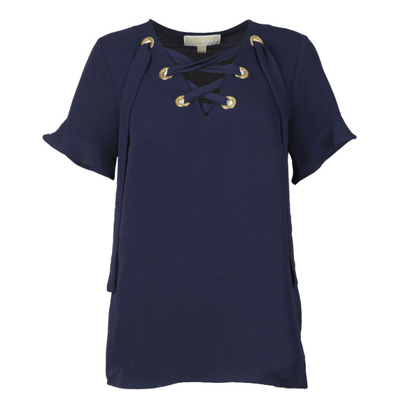 Michael Kors Womens Blue Grommet Lace Up Top