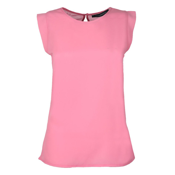 French Connection Womens Pink Classic Crepe Capped Sleeve Top main image