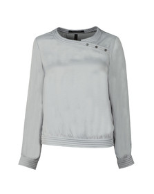 Maison Scotch Womens Silver Silky Top With Quilted Detail