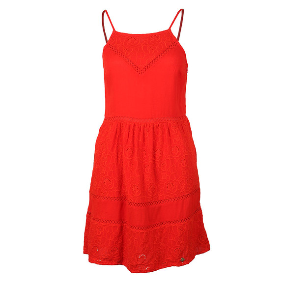 Superdry Womens Red Lilah Schiffli Dress