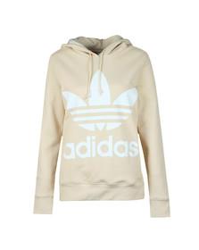 Adidas Originals Womens Beige Trefoil Logo Hoodie