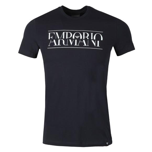 Emporio Armani Mens Blue Large Chest Logo T-Shirt