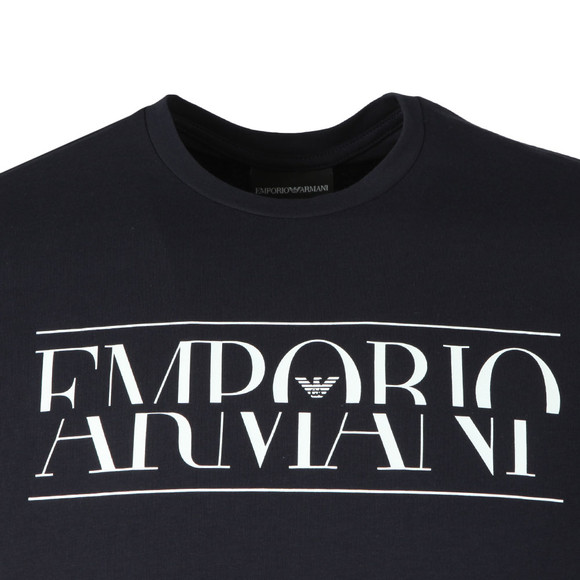 Emporio Armani Mens Blue Large Chest Logo T-Shirt main image