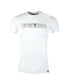 Emporio Armani Mens White Crew Neck Repeated Logo T-Shirt