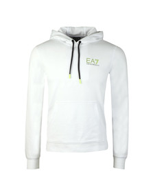 EA7 Emporio Armani Mens White Neon Logo Overhead Hoody