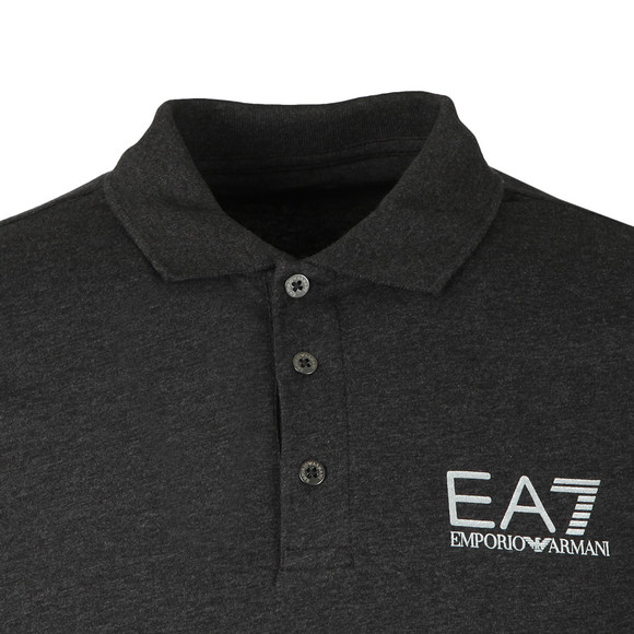 EA7 Emporio Armani Mens Grey Marl Small Logo LS Polo Shirt main image