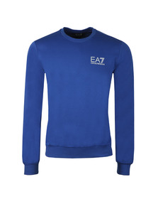 EA7 Emporio Armani Mens Blue Marl Small Logo Crew Sweat