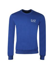 EA7 Emporio Armani Mens Blue Marl Small Logo Crew Sweat