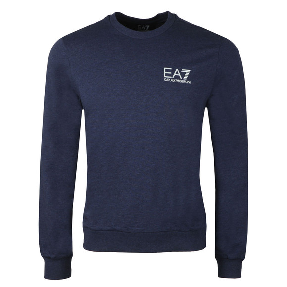 EA7 Emporio Armani Mens Blue Marl Small Logo Crew Sweat main image