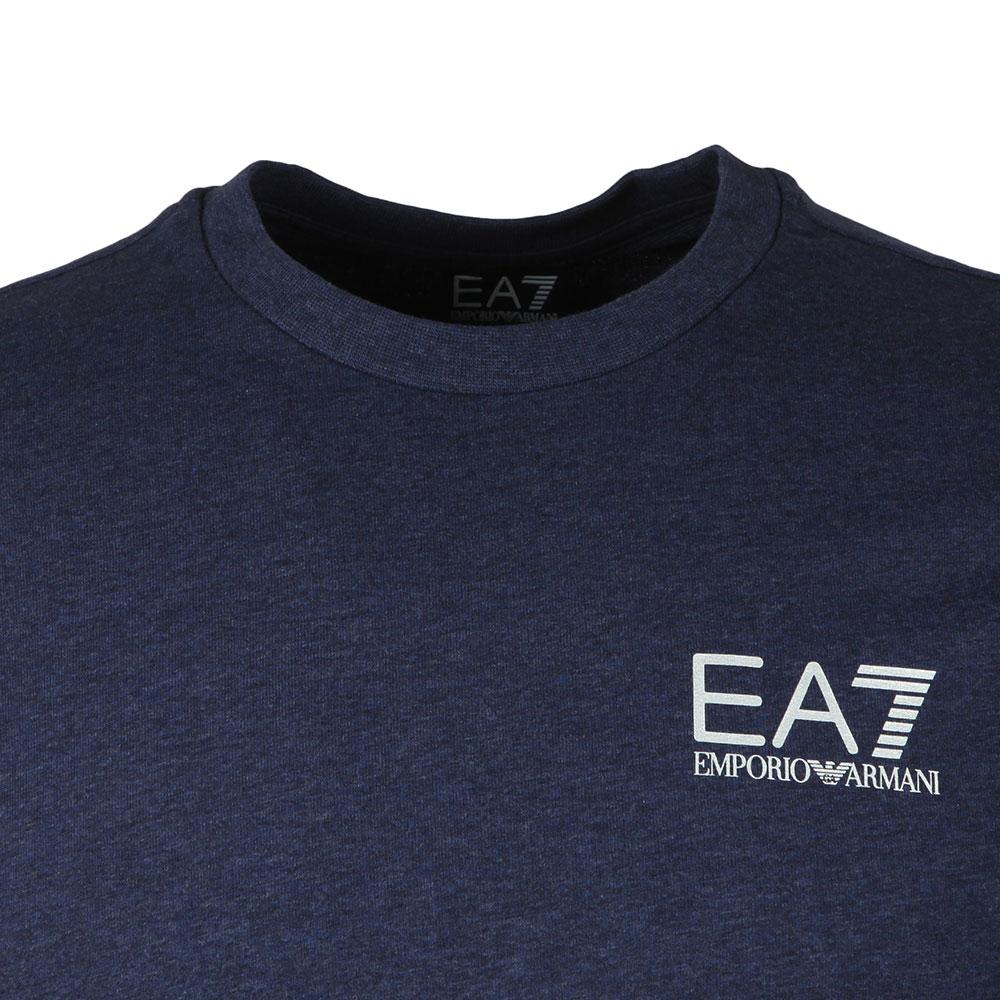 ... EA7 Emporio Armani Mens Blue Marl Small Logo Crew Sweat main image ... 3a2d11939fc7