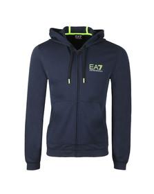 EA7 Emporio Armani Mens Blue Neon Logo Zip Hoody