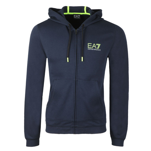 EA7 Emporio Armani Mens Blue Neon Logo Zip Hoody main image