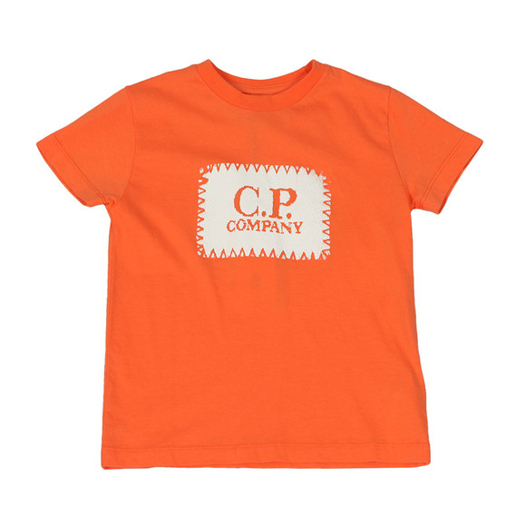 C.P. Company Undersixteen Boys Orange Stamp Logo T Shirt main image