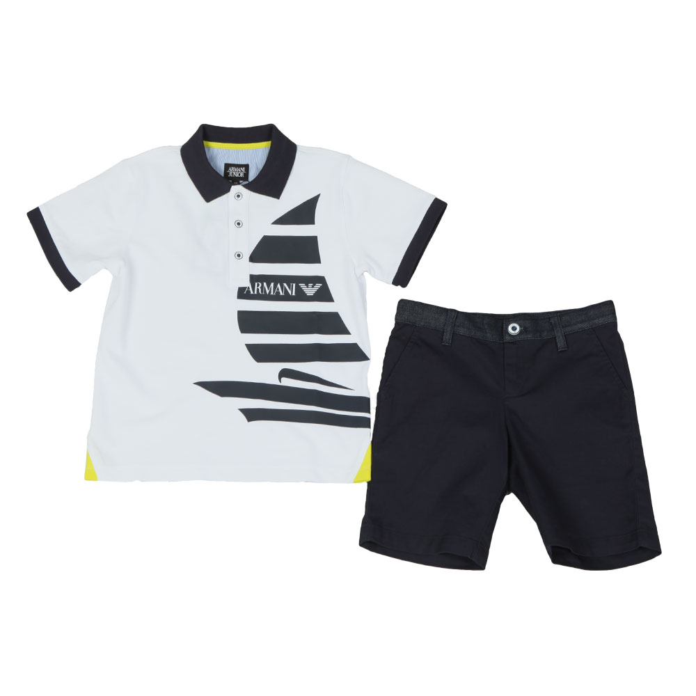b2743fb5 Armani Junior Sail Logo Polo & Short Set | Oxygen Clothing