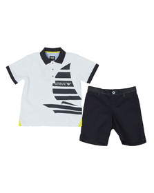 Armani Junior  Boys White Sail Logo Polo & Short Set