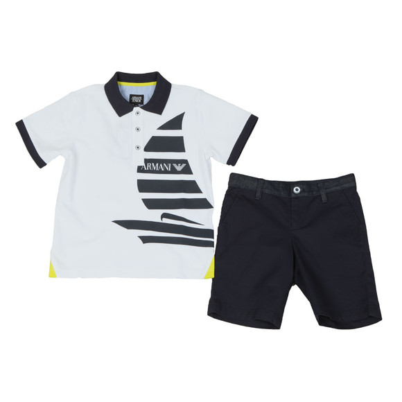 Armani Junior  Boys White Sail Logo Polo & Short Set main image