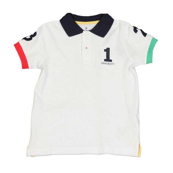 Hackett Boys White Boys Number Polo Shirt main image