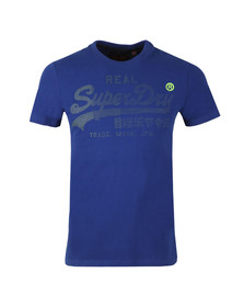 Superdry Mens Blue S/S Real Logo 1st Tee