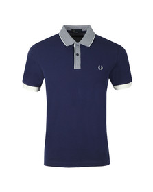 Fred Perry Mens Blue S/S Stripe Collar Pique Polo