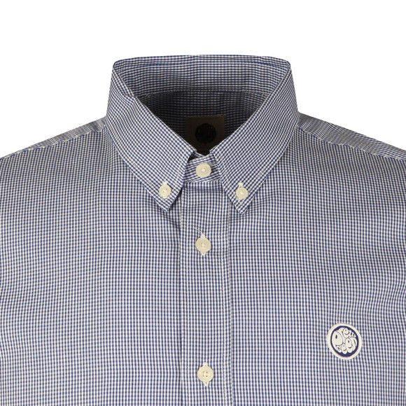 Pretty Green Mens Blue S/S Gingham Check Shirt main image