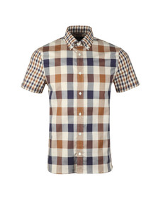 Aquascutum Mens Brown Dart Mixed CC Check Shirt