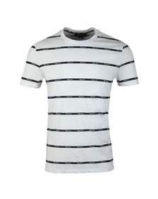 Aquascutum Mens White Whillan Aqua Stripe T Shirt