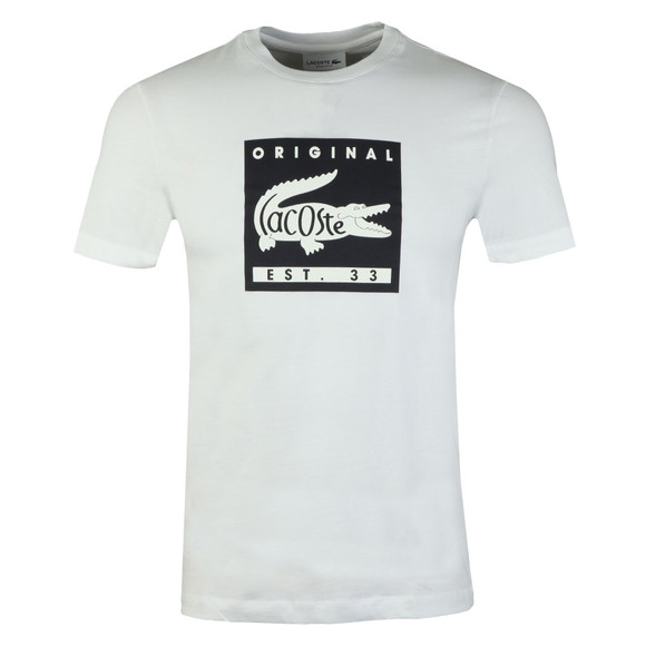 Lacoste Mens White TH7461 Print T-Shirt