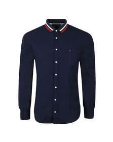 Tommy Hilfiger Mens Blue L/S Rib Collar Shirt