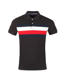 Tommy Hilfiger Mens Black S/S Chest Stripe Polo