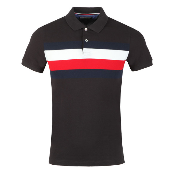 Tommy Hilfiger Mens Black S/S Chest Stripe Polo main image