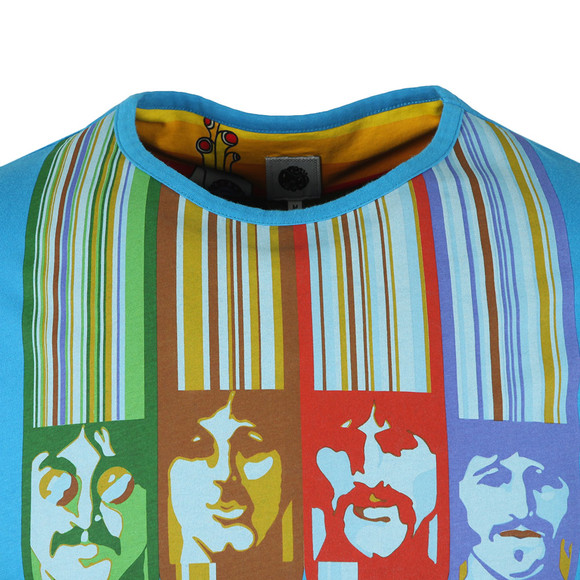 Pretty Green X Beatles Mens Blue S/S Beatles Face Print Tee main image