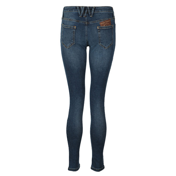 Vivienne Westwood Anglomania Womens Blue Leather Patch Super Skinny Jean main image