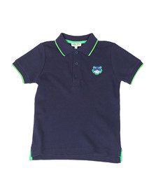 Kenzo Kids Boys Blue Tipped Logo Polo Shirt