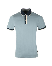 Ted Baker Mens Blue S/S Flat Knit Collar Polo