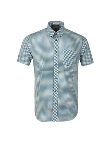 Ben Sherman Mens Green S/S Gingham Check Shirt