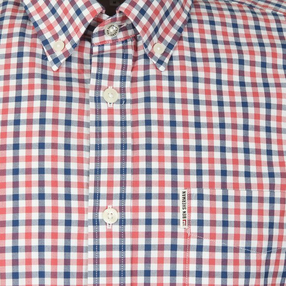 Ben Sherman Mens Red S/S Gingham Check Shirt main image
