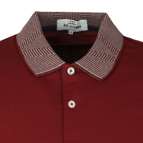 Ben Sherman Mens Red Intarsia Collar Polo main image