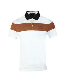Aquascutum Mens White Calder Colour Block Stripe Polo Shirt