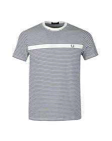 Fred Perry Mens White S/S Fine Stripe Tee