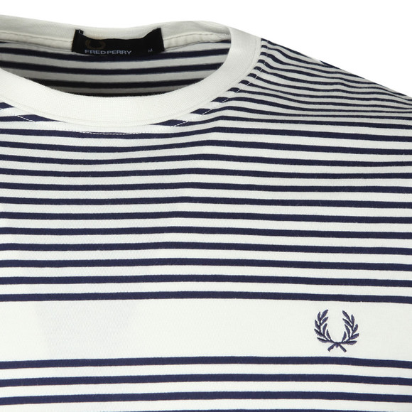 Fred Perry Mens White S/S Fine Stripe Tee main image