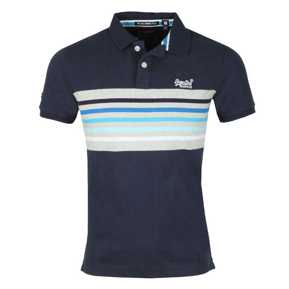 Superdry Mens Blue S/SCali  Banner Stripe Polo main image