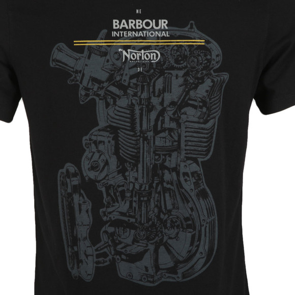 Barbour International Mens Black S/S Norton Engine Tee main image