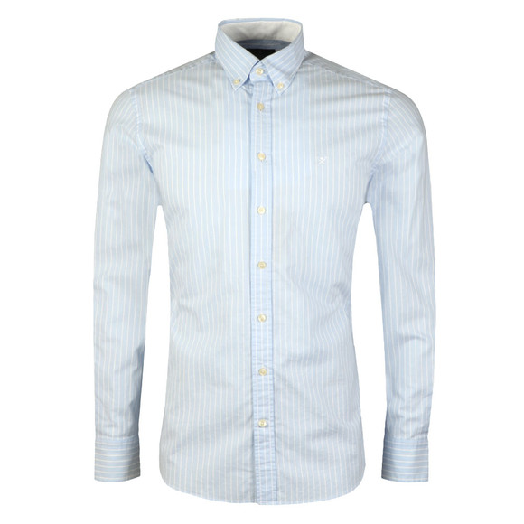 Hackett Mens Blue L/S Bengal Oxford Shirt main image