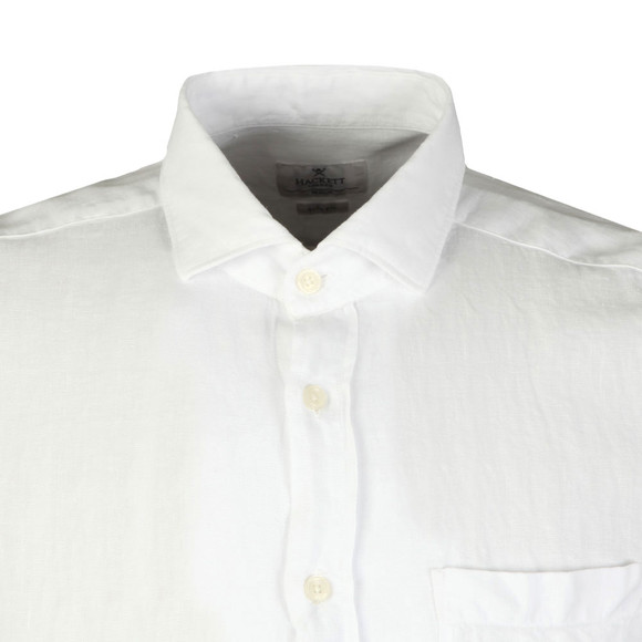 Hackett Mens White S/S Linen Shirt main image