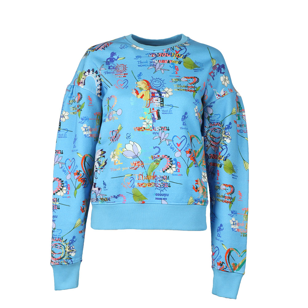 Thank You Print Puffy Shoulder Sweatshirt main image
