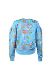 Vivienne Westwood Anglomania Womens Blue Thank You Print Puffy Shoulder Sweatshirt