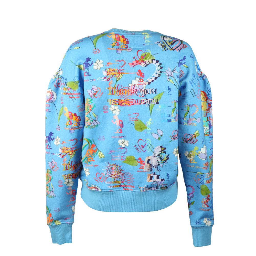 Thank You Print Puffy Shoulder Sweatshirt main image